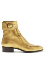 SAINT LAURENT Miles metallic leather ankle boots in gold