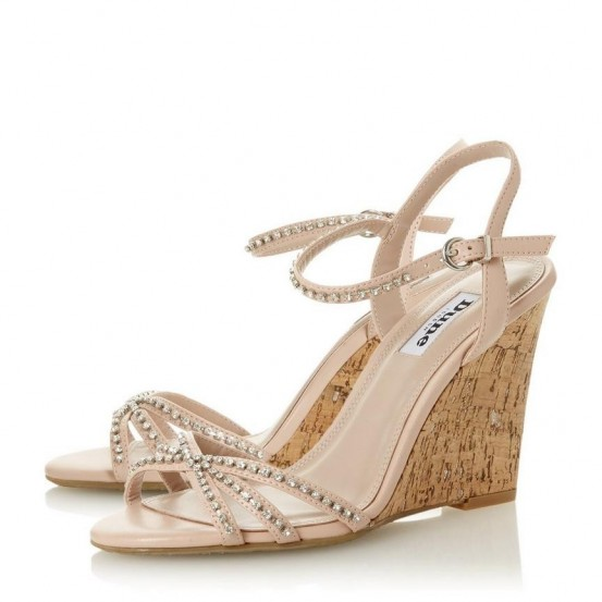 DUNE LONDON Minke Blush Stone Embellished Wedge Sandal   luxe summer wedges