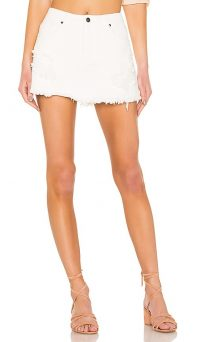 MINKPINK Wrecked Denim Skort in White | fringed hem skorts