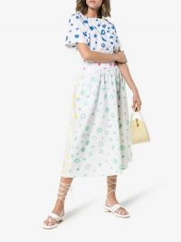 Mira Mikati Dot Print Flared Cotton Dress   spring fashion   open back dresses