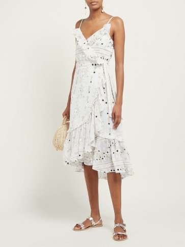 JULIET DUNN Mirror-embroidered ruffle cotton midi dress in white ~ thin strap vacation dresses