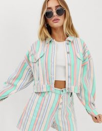 Missguided co-ord cropped oversized denim jacket in pastel stripe | multi striped jackets