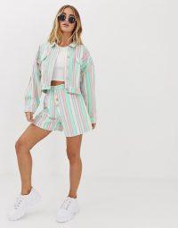 Missguided co-ord denim mom shorts in pastel stripe