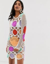 Missguided crochet knit dress with multi patchwork in white | retro knitted dresses