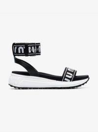 Miu Miu Black Logo Print Strap Sandals / monochrome sandal