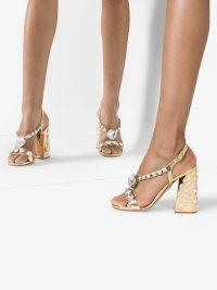Miu Miu Metallic Gold 105 Crystal Embellished Patent Leather Sandals / luxe glamour
