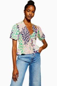 TOPSHOP Mixed Floral Double Tie Top. MULTI PRINTED BLOUSE