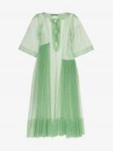 Molly Goddard Blessing Green Gingham Print Ruffle Dress / sheer check print dresses