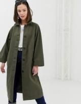 Monki oversized lightweight coat in khaki   green coats for spring