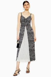 Topshop Monochrome Pleated Midi Slip Dress