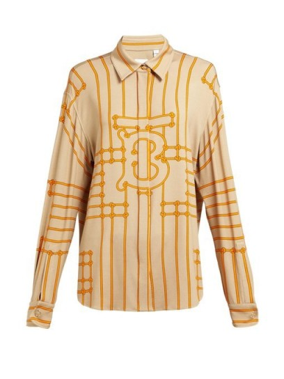 BURBERRY Monogram-print silk-blend shirt in beige