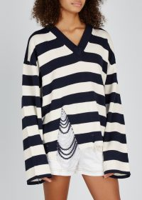 MONSE Striped wool-blend faux pearl embellished jumper in ivory and navy