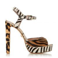 DUNE LONDON Morrell Multi Platform High Heel Sandal | mixed animal printed platforms | retro sandals