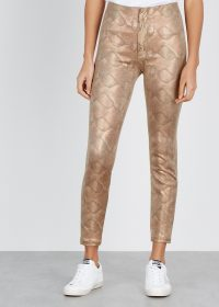 MOTHER Python-effect faux leather trousers in sand ~ brown tone skinnies