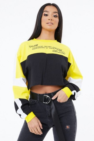 THE COUTURE CLUB MOTOCROSS LS CROP TOP YELLOW / BLACK ~ cropped sports style tops