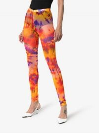 MSGM Tie-Dye Mid-Rise Leggings in Orange