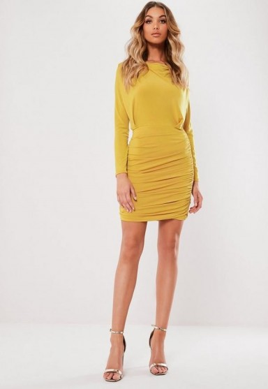 MISSGUIDED mustard long sleeve slinky ruched mini dress ~ dark-yellow going out dresses