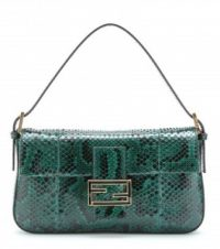 Fendi Baguette Python leather shoulder bag in forest green.