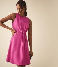 REISS NADIA PLEAT DETAIL DAY DRESS PINK ~ bright event dresses
