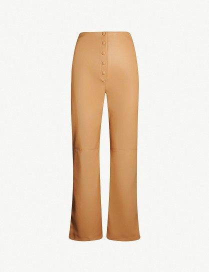 NANUSHKA Sora straight vegan-leather trousers in pale caramel