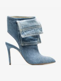 Natasha Zinko Blue 100 Cut-Out Denim-Wrapped Leather Ankle Boots / stiletto heel bootie
