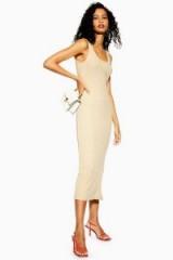 Topshop Natural Column Midi Dress in Stone   neutral tank dresses