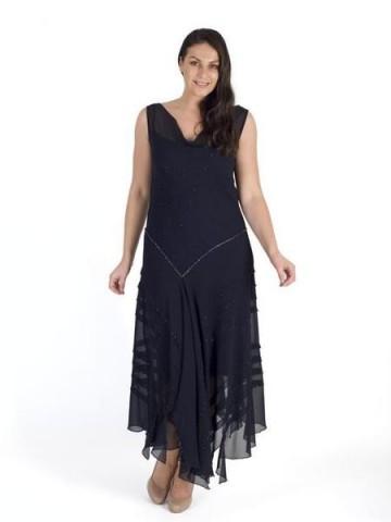 Chesca Direct Navy Cowl Neck Bead Stripy Trim Chiffon Dress | fabulous chiffon dress | soft owl neckline | handkerchief hemline