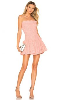 NBD Baby Doll Mini in Pastel Pink | strapless flounce hem party dresses