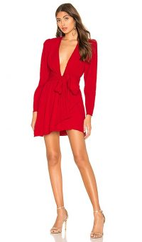 NBD Edie Mini Dress in Candy Red | deep plunge front wrap dresses