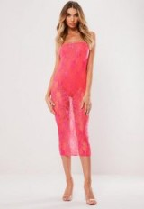 MISSGUIDED neon pink lace ruched midi dress ~ bright going out fashion