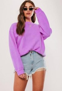 MISSGUIDED neon purple washed sweatshirt