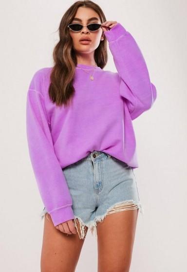 MISSGUIDED neon purple washed sweatshirt