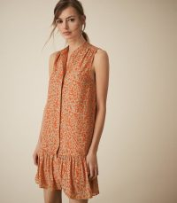 Reiss NIA PRINTED SHIFT DRESS CORAL | sleeveless spring dresses