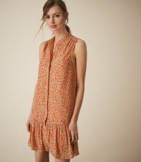 Reiss NIA PRINTED SHIFT DRESS CORAL | sleeveless spring dresses