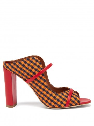 MALONE SOULIERS Nora gingham canvas and leather sandals in orange ~ checked mules