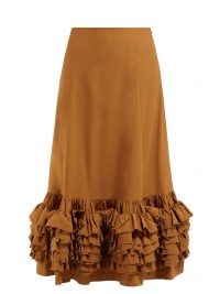 MOLLY GODDARD Nora ruffled cotton skirt in brown ~ tiered ruffles ~ summer vacation skirts