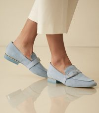 Reiss NOVA SUEDE BUCKLE DETAIL LOAFERS CORNFLOWER BLUE | luxe casual flats