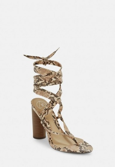 MISSGUIDED nude snake print wrap block heel sandals ~ strappy summer heels