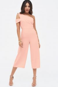 Lavish Alice off the shoulder button detail culotte jumpsuit in nude – pale pink crop leg jumpsuits
