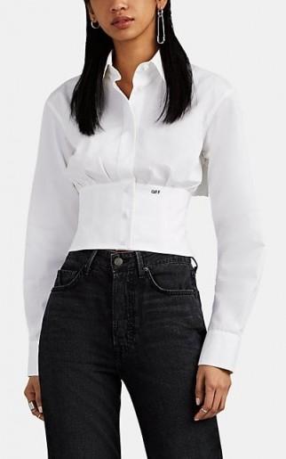 OFF-WHITE C/O VIRGIL ABLOH White Cotton Faille Crop Corset Shirt ~ lace-up back shirts