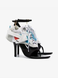 Off-White White, Black And Blue Heeled Runner 100 Sandals / sporty heels