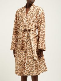 ROCHAS Okawa leopard-print taffeta coat in beige / wild animal prints