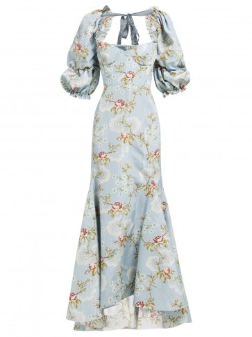 BROCK COLLECTION Olaria floral-print bustier cotton-blend gown in blue ~ romantic event gowns