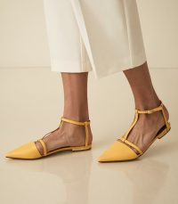 OLIVIA LEATHER T-BAR FLATS MARIGOLD | strappy yellow point toe flats