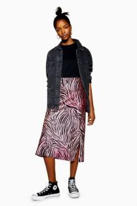 TOPSHOP Ombre Tiger Print Satin Bias Skirt in Pink