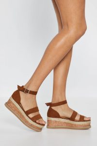 NASTY GAL On the Wedge Cork Faux Suede Sandals in Tan