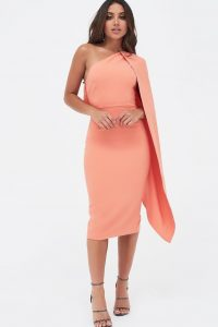 LAVISH ALICE one shoulder cape midi dress in papaya