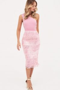LAVISH ALICE one shoulder fringe midi dress in pink ~ fringed party dresses