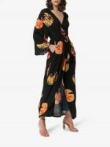Onia Meika Palm Print Belted Maxi Dress in Black / long wrap dresses