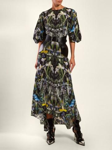 ALEXANDER MCQUEEN Ophelia floral-print silk dress | puff sleeved dresses
